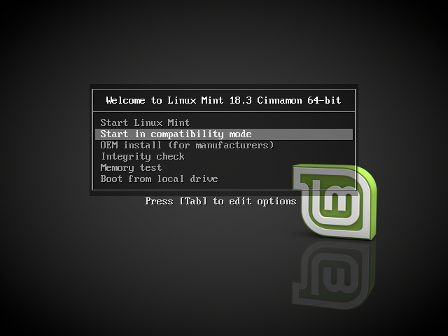 Boot options — Linux Mint Installation Guide documentation