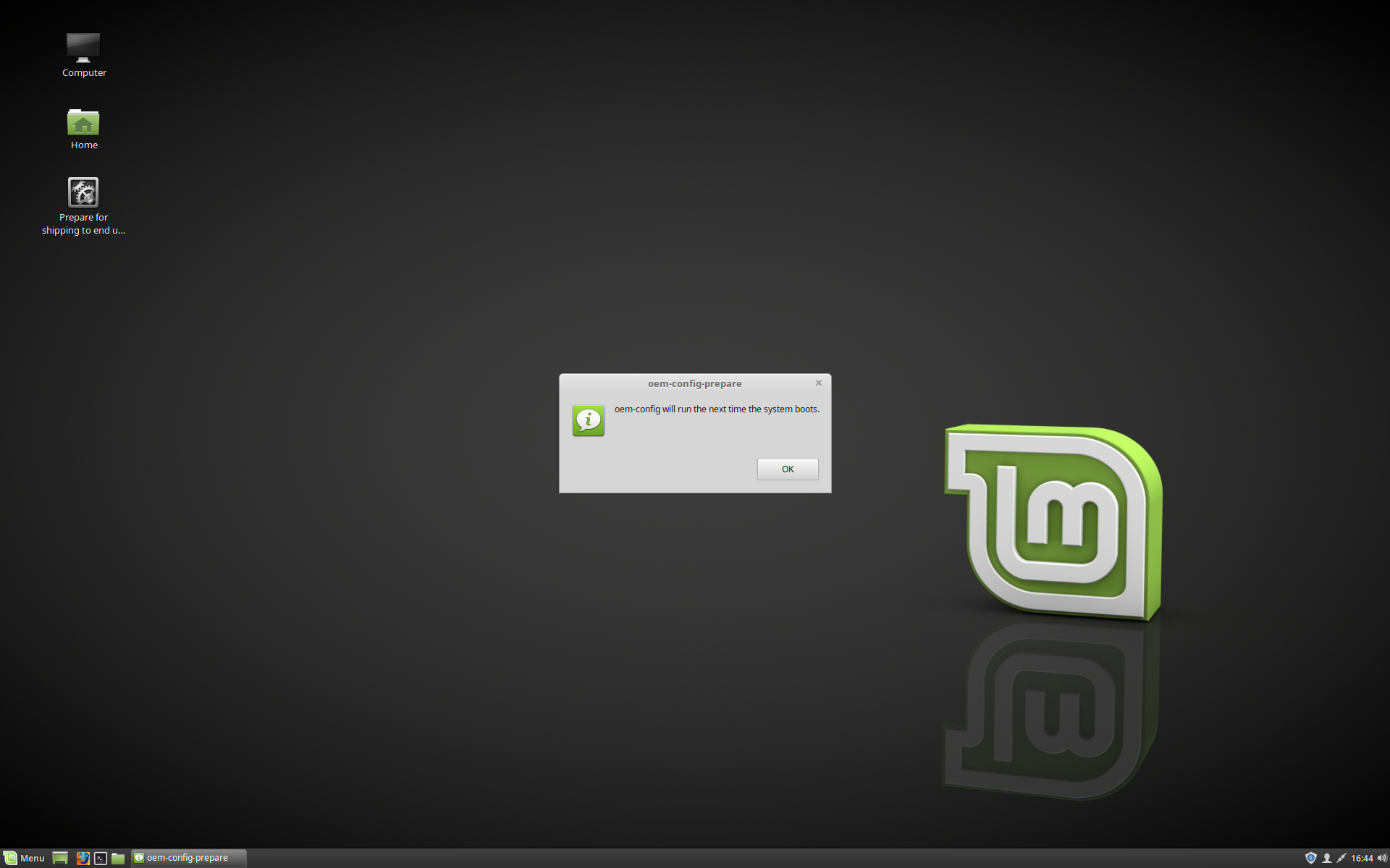 Pre-installing Linux Mint (OEM Installation) — Linux Mint